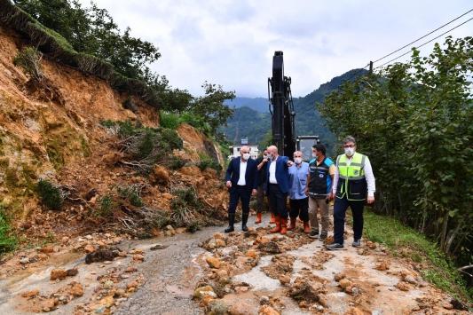 Trabzondaki sel ve heyelanın ardından hasar tespit çalışmaları devam ediyor