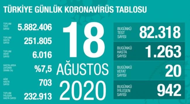 18 Ağustos koronavirüs tablosu açıklandı… Bugünkü vaka sayısı…