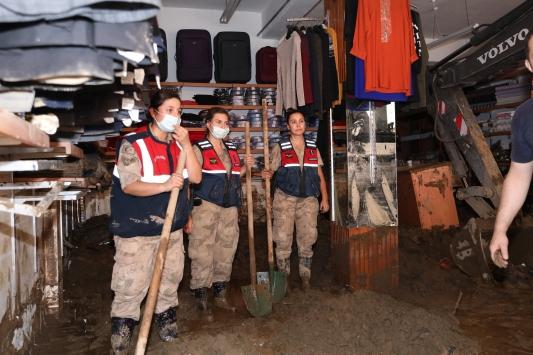 Dereli ilçesinde ev ve iş yerlerinin yıkımları sürüyor
