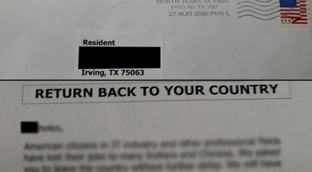 ABD polisi ırkçı mektubu paylaştı: Size de gelirse haber verin