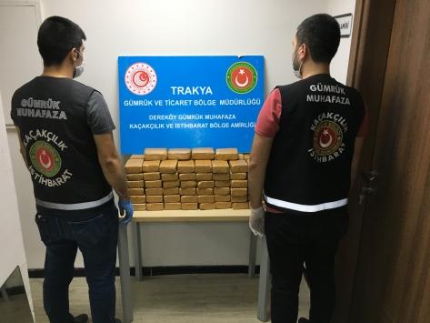 Dereköy Gümrük Kapısında bir otobüste 50,9 kilogram eroin bulundu