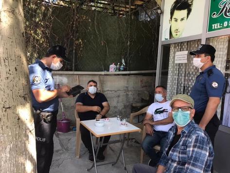 Derebucakta polisten koronavirüs denetimleri
