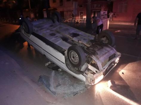 Mersinde takla atan otomobilin sürücüsü yaralandı