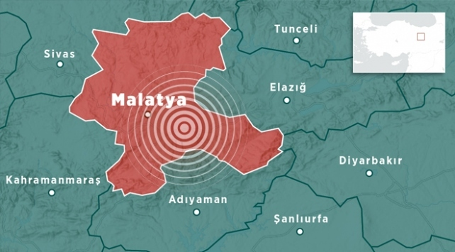 Malatyada 4,6 büyüklüğünde deprem meydana geldi