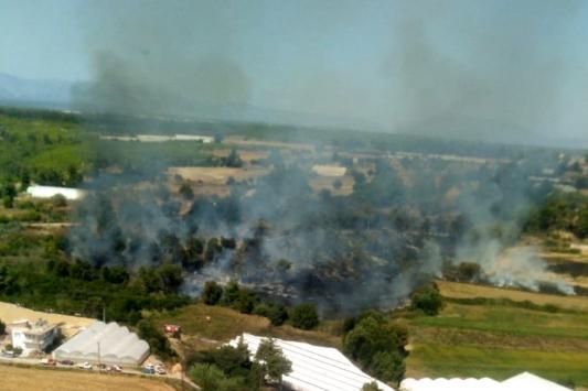 Antalyada çıkan arazi yangınına hava ve karadan müdahale ediliyor
