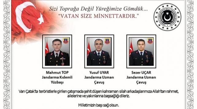 Milli Savunma Bakanlığından Van şehitleri için taziye mesajı
