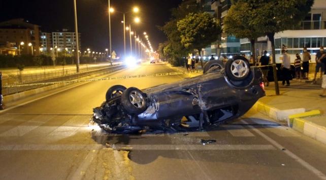 Uşakta takla atan otomobildeki 1 kişi yaralandı