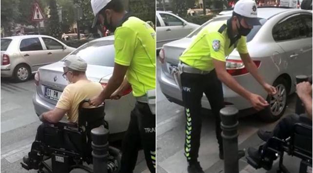 Yaya geçidine park etti, engelli vatandaşın yardımına polis yetişti