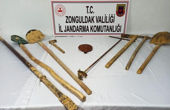 Zonguldakta kaçak kazı yapan 3 kişi suçüstü yakalandı