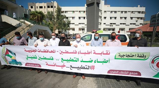 İsraille normalleşme Gazzede protesto edildi