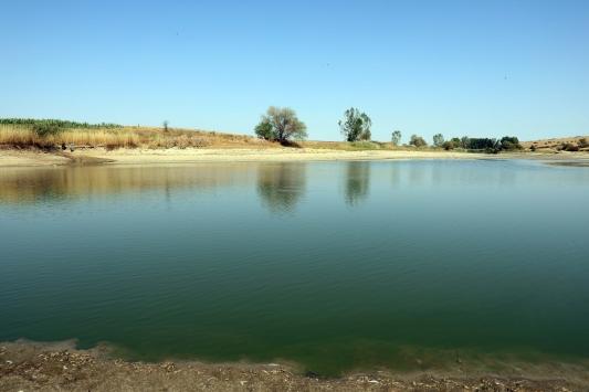 Kuruyan gölette balıklara can suyu verildi