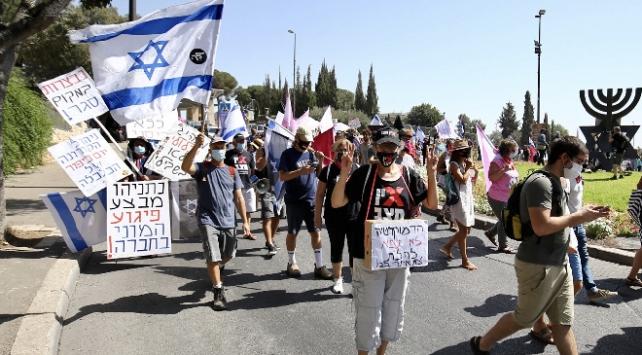 İsrailde Netanyahu karşıtı gösterilerin sınırlandırılması planı protesto edildi