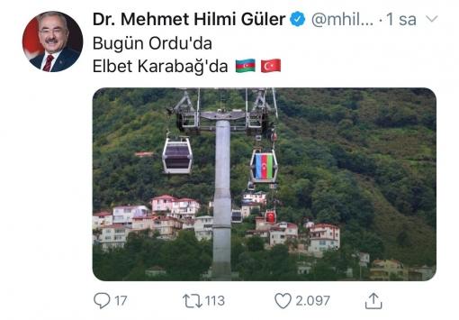 Orduda teleferiğe Türk ve Azerbaycan bayrakları asıldı