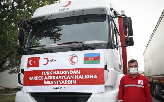 Türk Kızılayın Azerbaycana yardım malzemesi götüren konvoyu yola çıktı