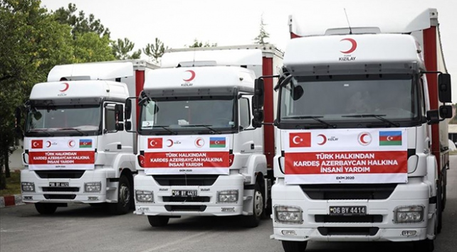 Türk Kızılaydan Azerbaycana yardım konvoyu