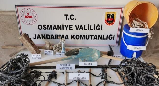 Osmaniyede kaçak kazı yapan 4 kişi yakalandı