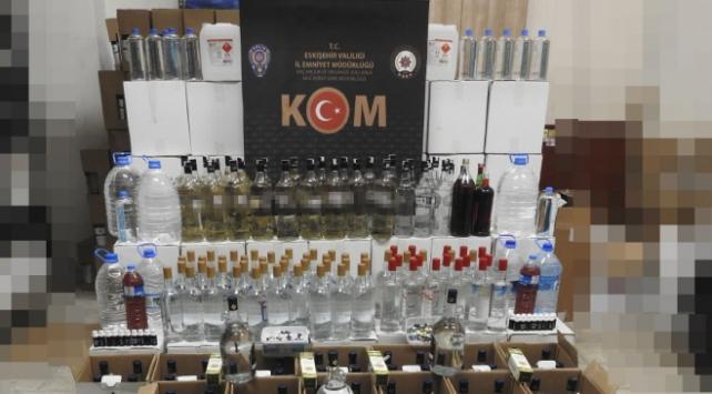 Eskişehirde 477 litre sahte içki ele geçirildi
