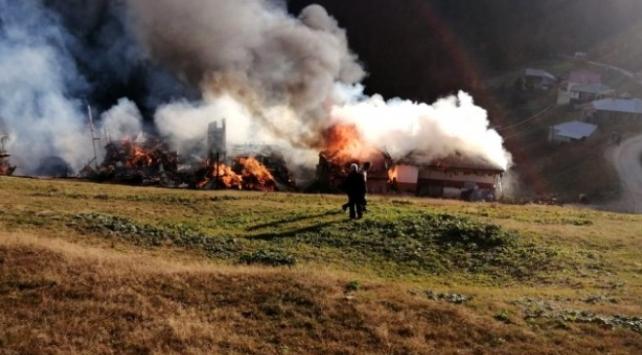 Trabzonda yaylada çıkan yangında 5 ev kullanılamaz hale geldi