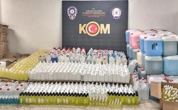 Ankarada kaçak dezenfektan ve temizlik ürünleri satan kişi yakalandı