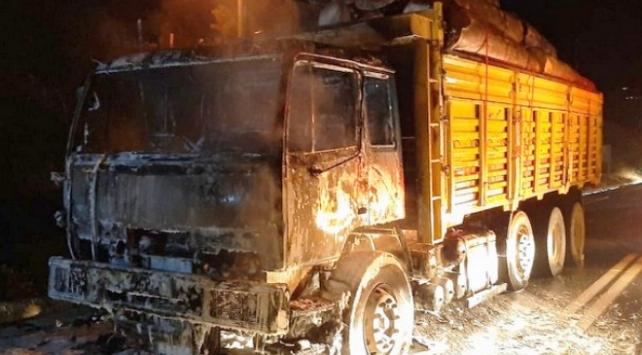Sakaryada seyir halindeki kamyon yandı