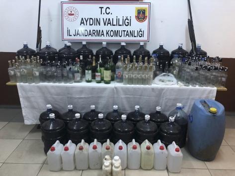 Aydında sahte içki ürettiği öne sürülen 2 kişi gözaltına alındı