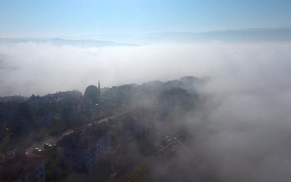 Sis bulutları arasındaki Düzcenin görüntüsü hayranlık uyandırdı