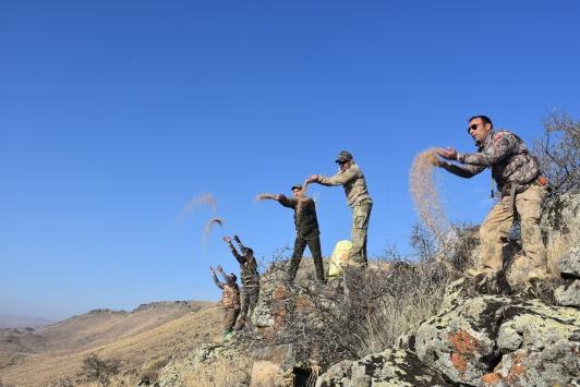 Karstaki avcılar doğadaki yaban hayvanlarına yem bıraktı
