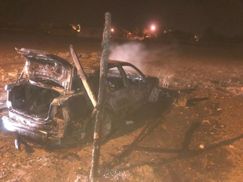 Kuluda park halindeki otomobil yandı