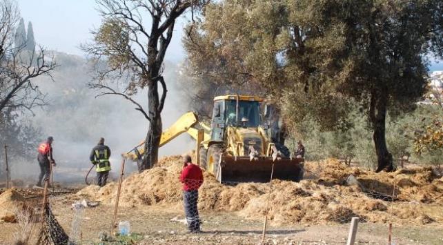 Çiftlik yangını: 1000 balya saman küle döndü