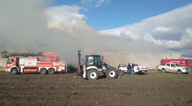 Bandırmada depo yangını: 700 ton mısır koçanı kül oldu