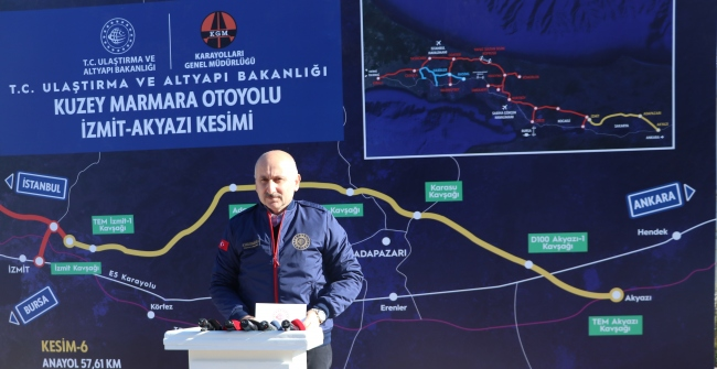 Bakan Karaismailoğlu, Kuzey Marmara Otoyolunda incelemelerde bulundu