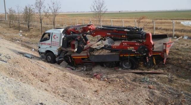 Kaza yapan vincin operatörü ağır yaralandı