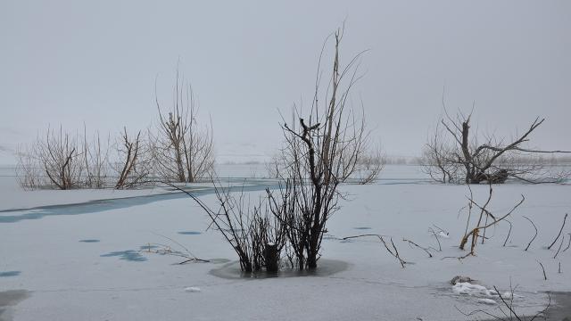 Karsta sıcaklık eksi 15 dereceye düştü, baraj dondu