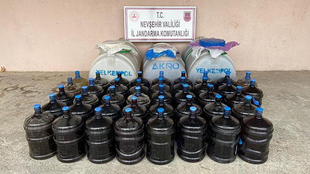 Nevşehirde 2 bin litre kaçak içki ele geçirildi