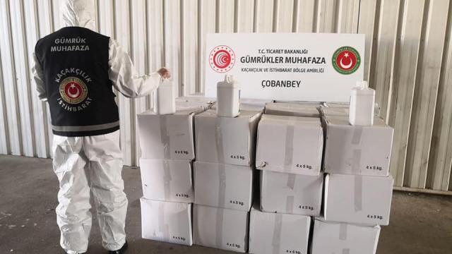 Kiliste Suriyeye ihracatı yasak olan 1990 litre sülfürik asit ele geçirildi