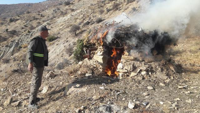 Yaban keçisi avlamak için kurulan tuzaklar imha edildi