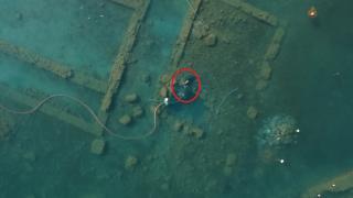 İznik Gölü'nün dibindeki 2 bin yıllık bazilikanın su altı görüntüleri