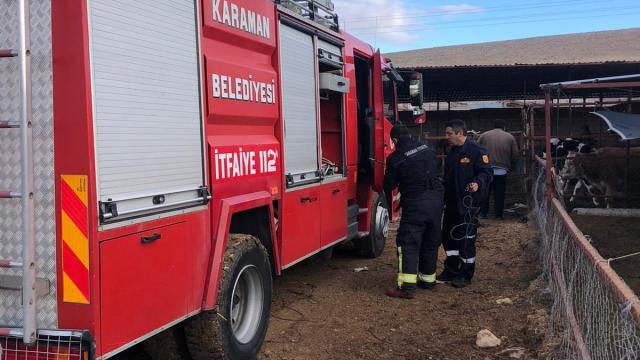 Karamanda kuyuya düşen inek itfaiye ekiplerince kurtarıldı