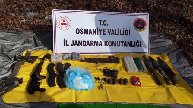 Osmaniyede PKKya yönelik operasyonda patlayıcı, mühimmat ve yaşam malzemeleri bulundu