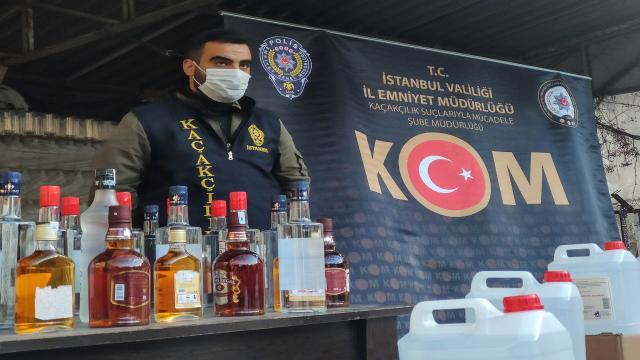 İstanbulda 2,5 ton sahte içki ele geçirildi