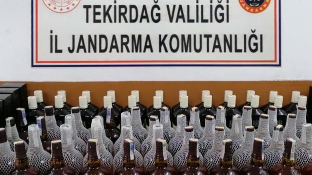 Tekirdağda 110 şişe kaçak içki ele geçirildi