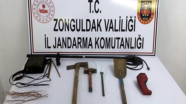 Zonguldakta kaçak kazı yapan kişi yakalandı
