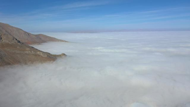 Kahramanmaraşta oluşan sis tabakası güzel manzaralar oluşturdu