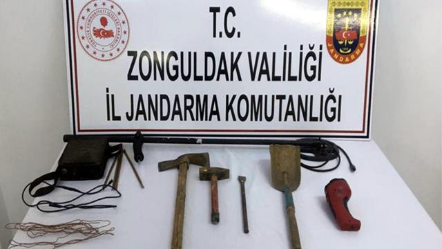 Zonguldakta kaçak kazı yapan şüpheli yakalandı