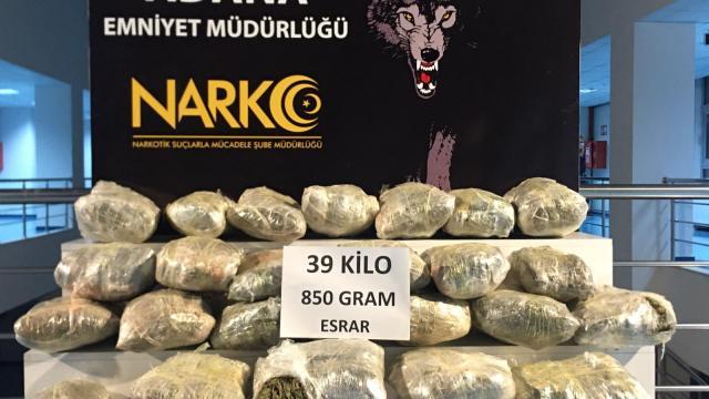 Adanada dondurulmuş şırdanların içinden 39 kilo 850 gram esrar çıktı