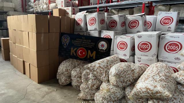 Adanada kaçak 850 kilogram tütün ve 8 milyon 300 bin makaron ele geçirildi