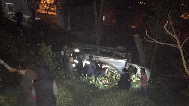 Hafif ticari araç tarlaya devrildi: 2 yaralı