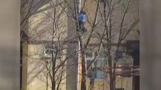 Babası çatıdaki kediyi kurtardı, küçük çocuk dua etti