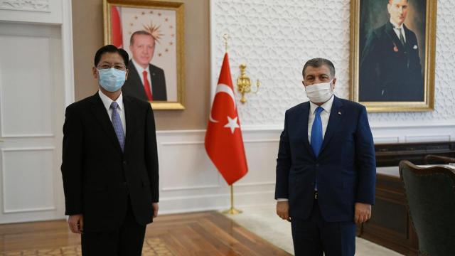 Sağlık Bakanı Koca, Çinin Ankara Büyükelçisi Şaobin ile görüştü