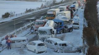 Japonya'da zincirleme kaza: 8 yaralı